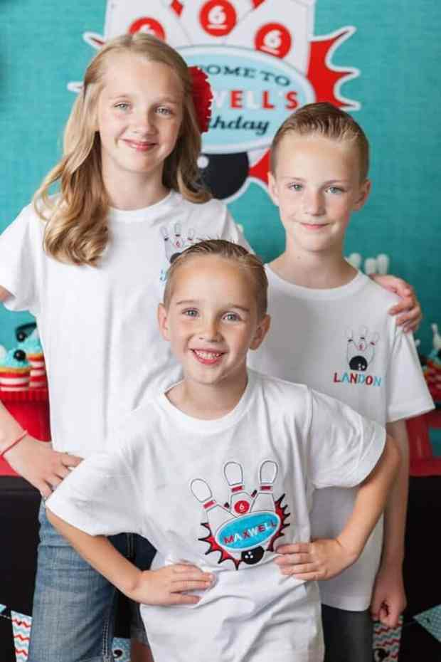 Boys Bowling Themed Birthday Party Food Party shirt ideas