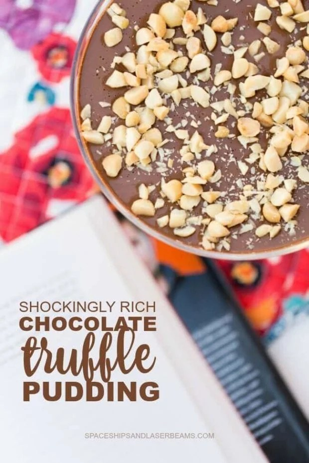 A rich chocolate truffle pudding made with ghee! So delicious!