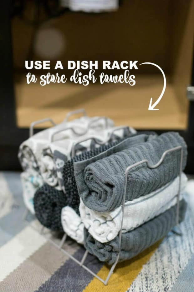 Kitchen Hack: Use a Dish Rack to Store Towels