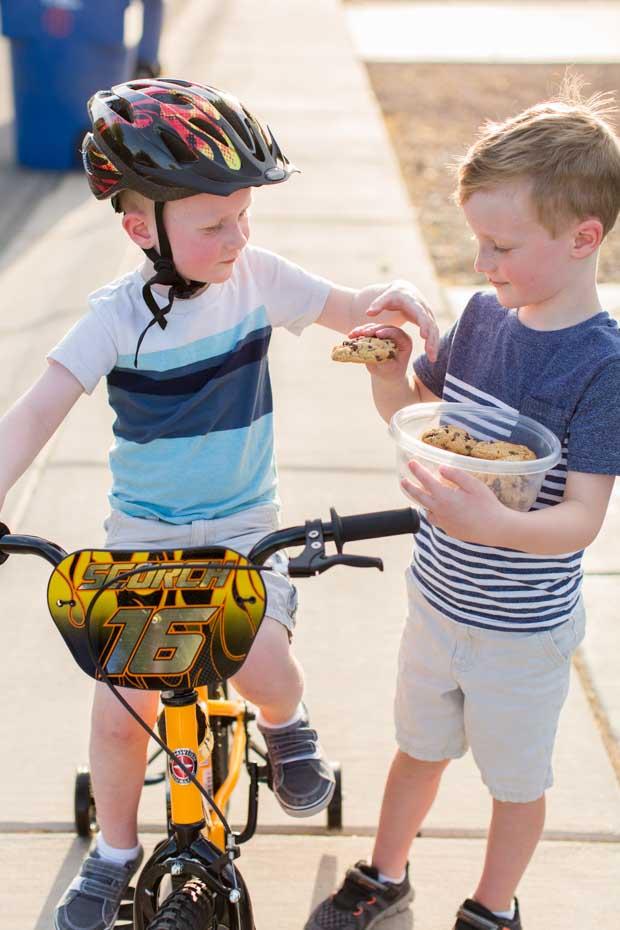 Boys with Schwinn SmartStart Bike
