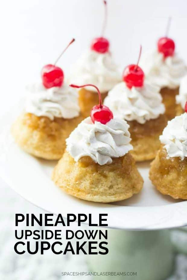 Six Pineapple Upside Down Cupcakes on a Pedestal Stand