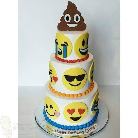 emoji 3 tier fondant cake