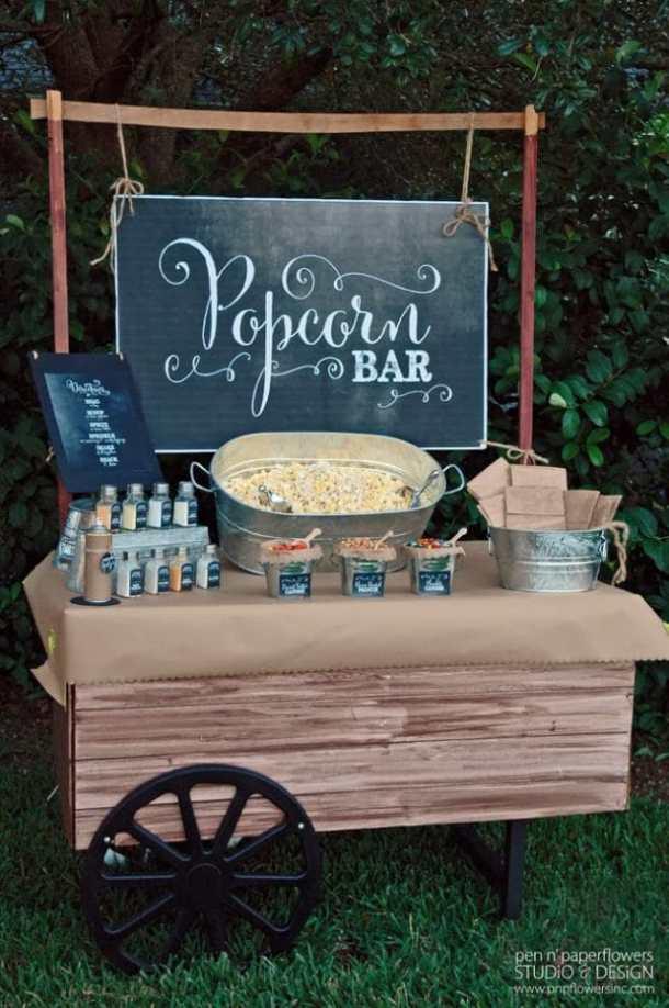 Chalkboard Popcorn Bar by Pen n' Paper Flowers Inc | 19 Graduation Party Decor Ideas