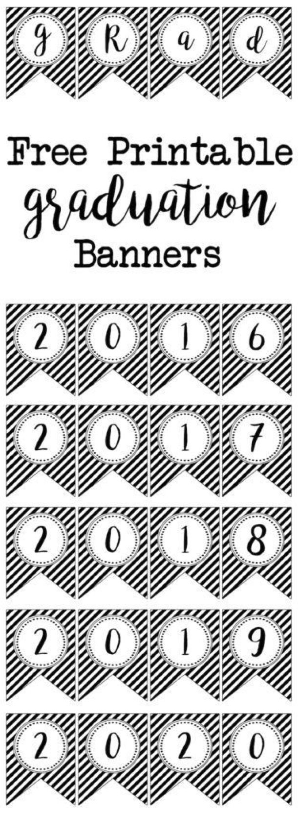 Free Printable Graduation Banners by Paper Trail Design | 10 Graduation Party Decoration Ideas