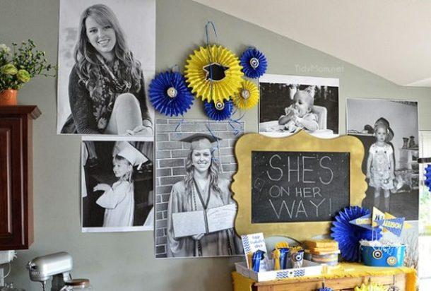 Giant Graduation Photo Wall by Tidy Mom | 19 Graduation Party Decoration Ideas