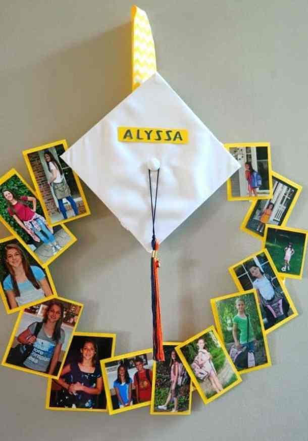 Graduation Wreath by Shugary Sweets | 19 Graduation Party Decoration ideas