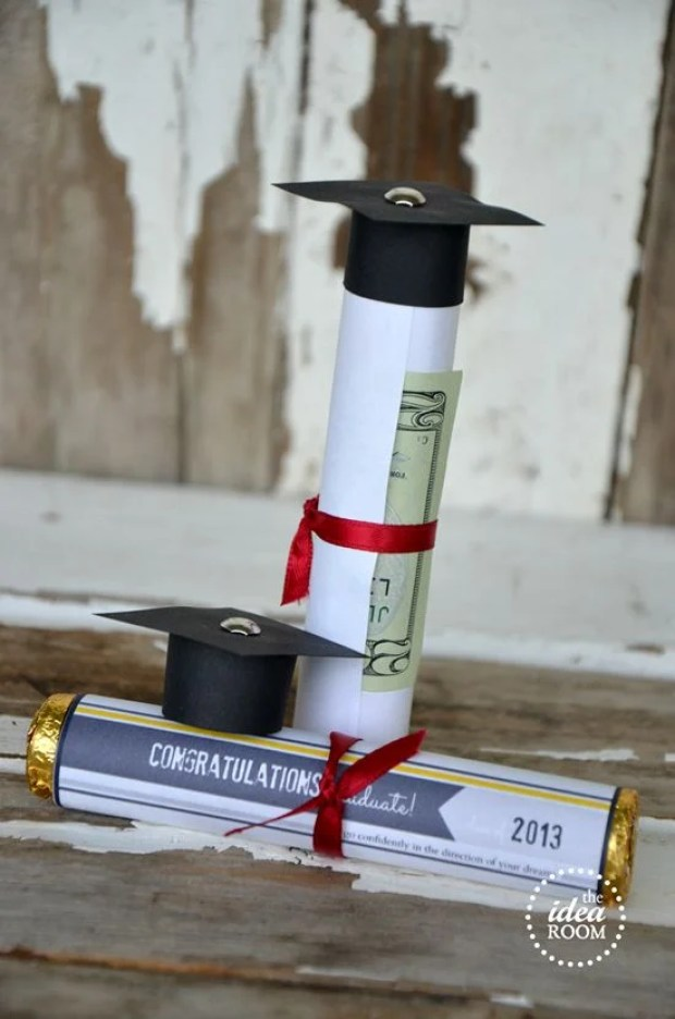 Rolled Rolo Diplomas by The Idea Room | 19 Graduation Party Favor Ideas