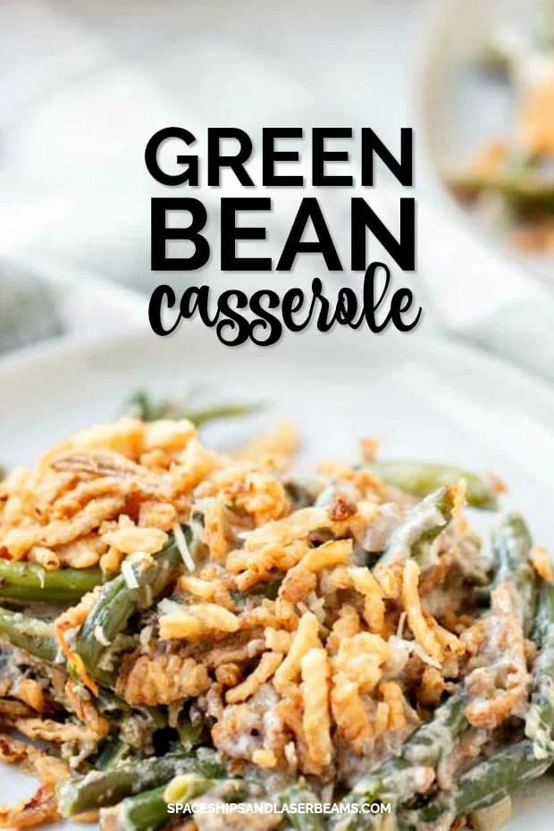 Serving of Green Bean Casserole on a white plate