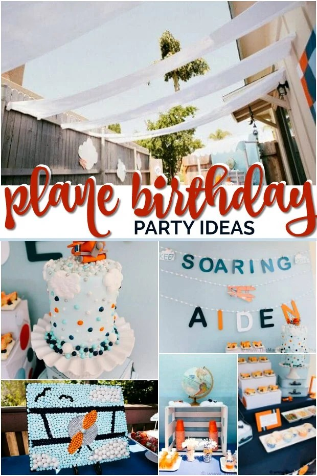 Collage of plane themed birthday party ideas