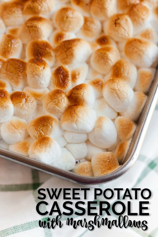casserole dish with sweet potatoes and marshmallow casserole in it