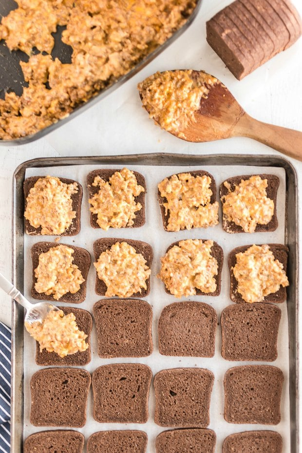 Rye toast on a tray to make hanky panky appetizers