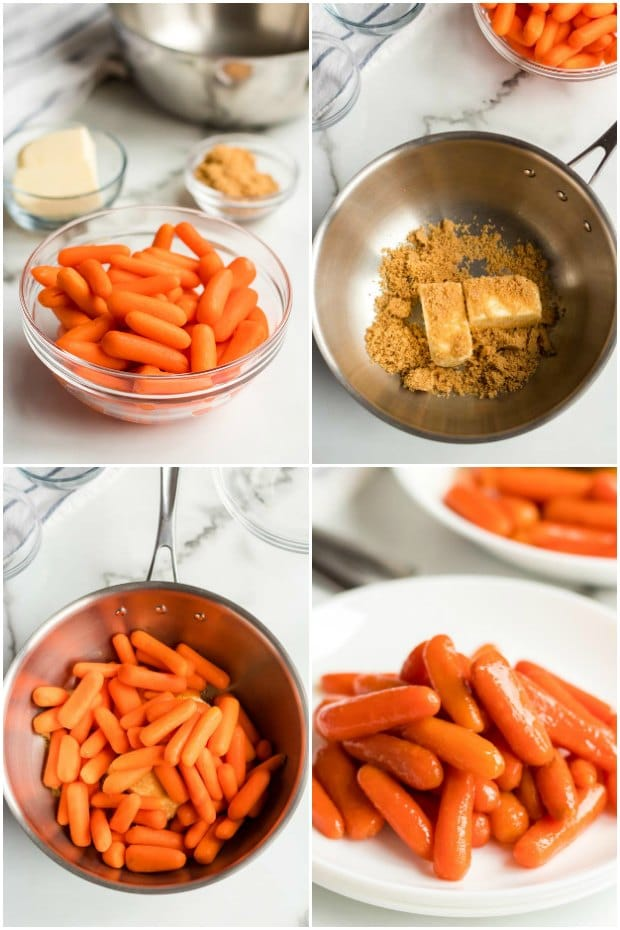 photo collage of the steps for making glazed carrots