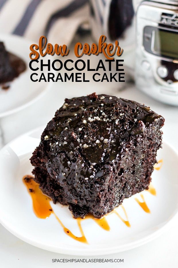 piece of chocolate caramel cake in front of a slow cooker