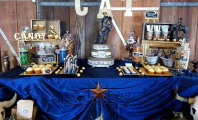 cowboy birthday party cake table