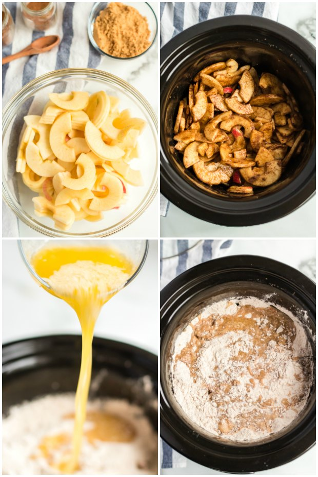 photo collage of steps for making apple cobbler in a crockpot