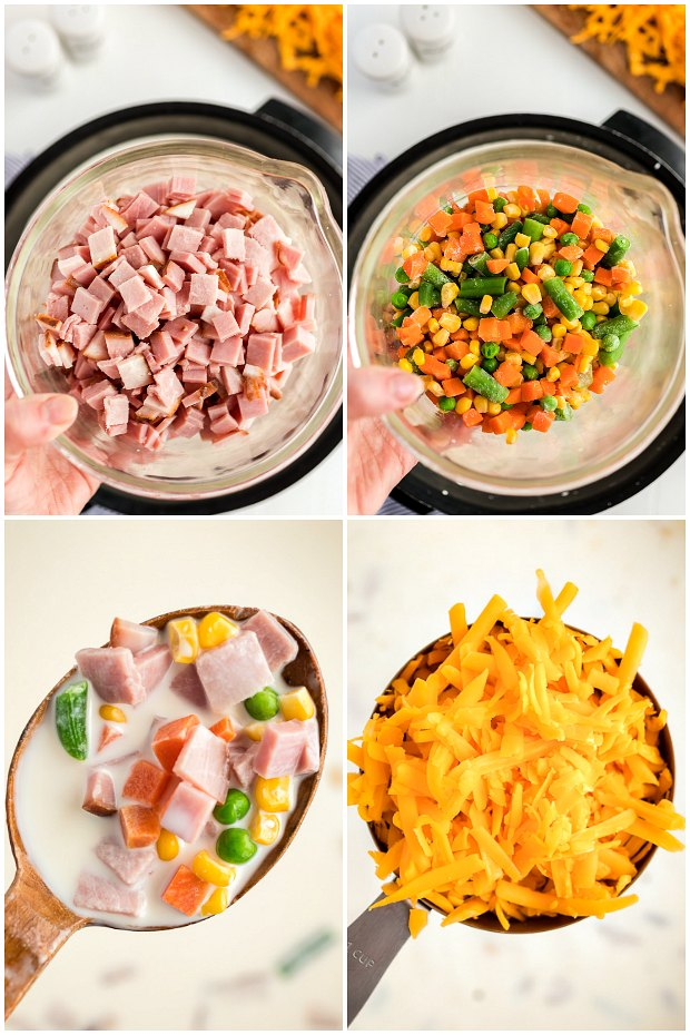 photo collage of steps for making ham and cheese soup
