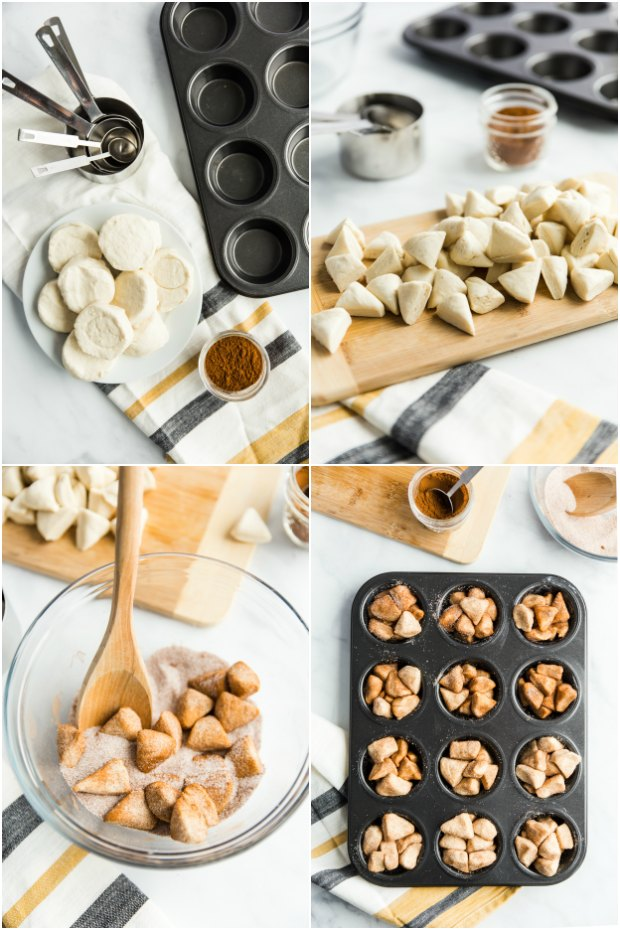 photo collage of steps for making monkey bread muffins