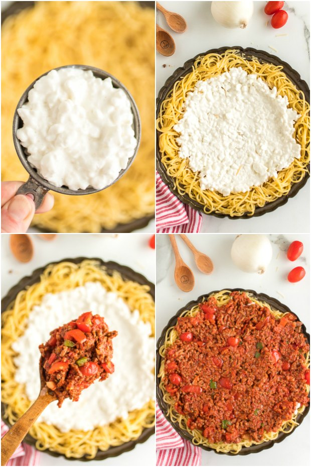 photo collage of steps showing how to make spaghetti pie