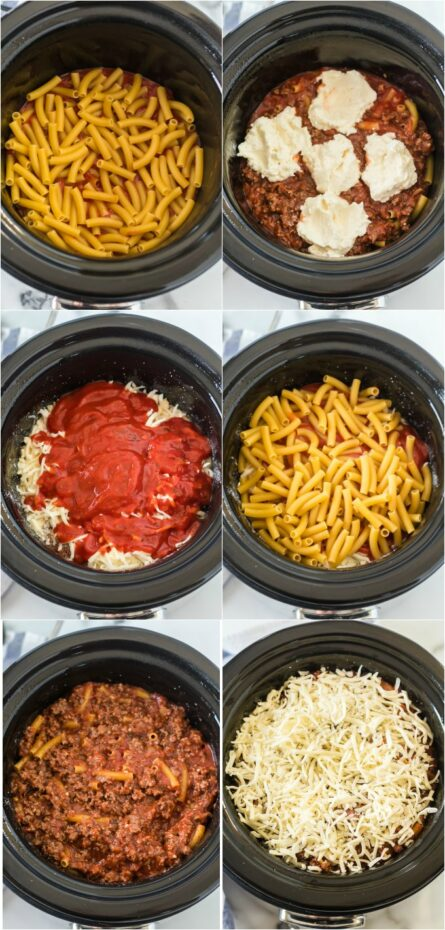 photo collage of how to make crockpot baked ziti