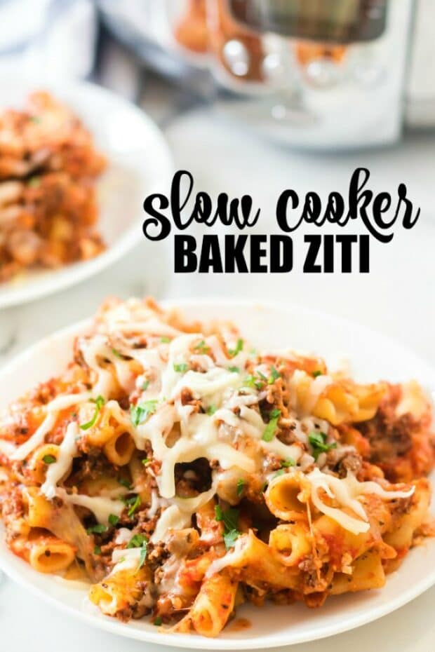 plate of baked ziti in front of a slow cooker