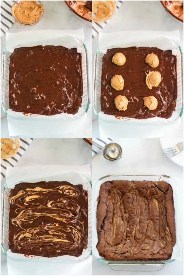 steps showing how to make peanut butter brownies