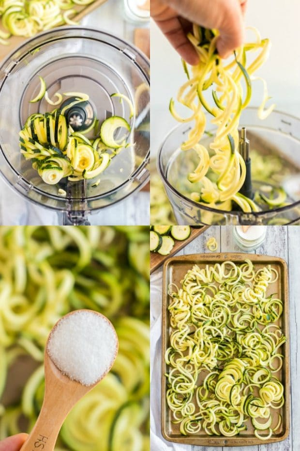 steps showing how to make zucchini noodles