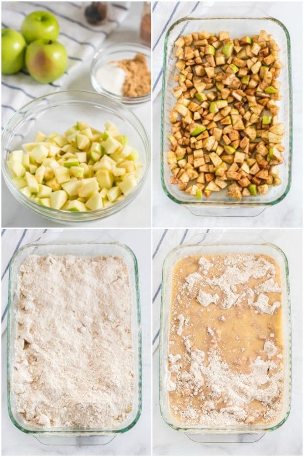 steps showing how to make an apple dump cake