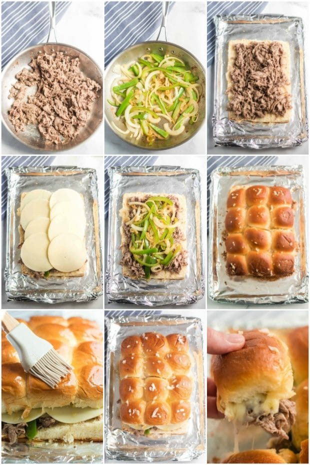 photo collage of steps showing how to make Philly cheesesteak sliders