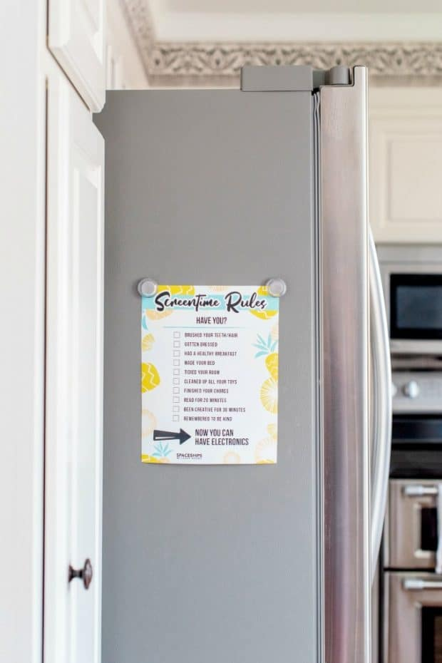 screen time rules on fridge