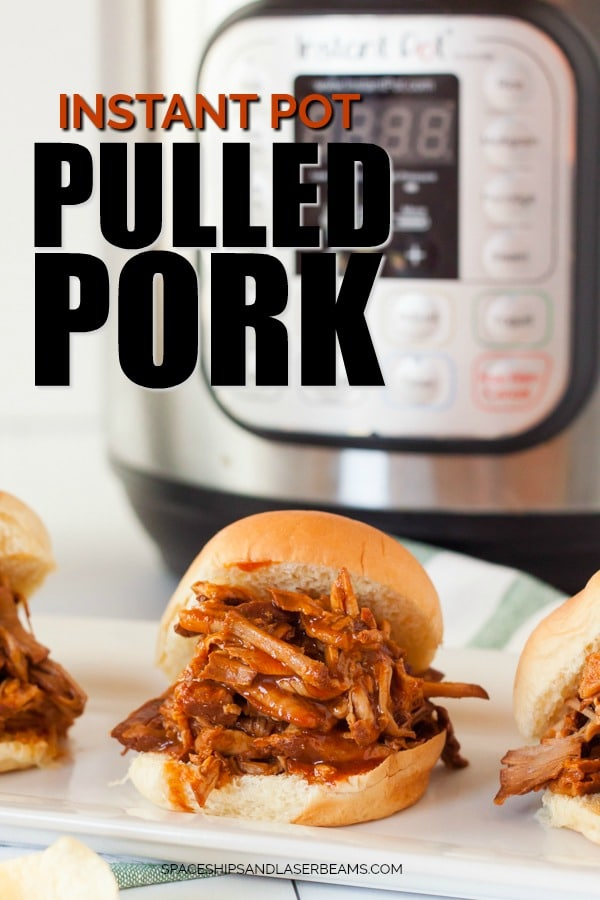 PULLED PORK SANDWICH IN FRONT OF INSTANT POT