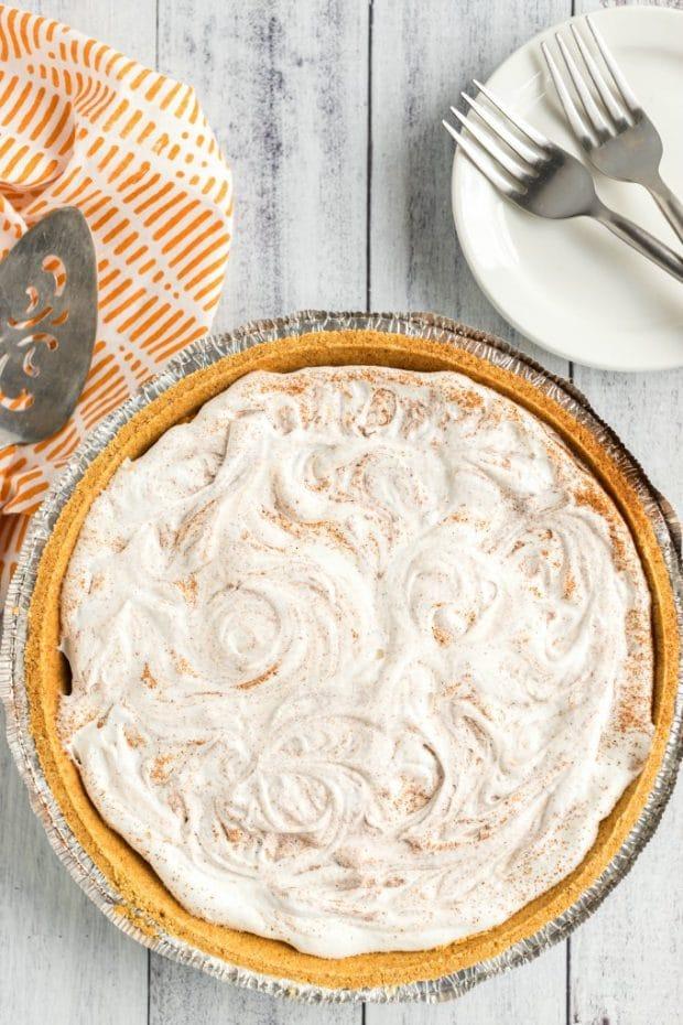 overhead shot of pumpkin pie