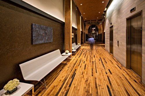 Cupples 9 lobby with the original wood plank flooring. Photo by MStudio West.