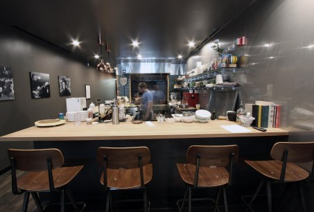 View of the kitchen from the chef's counter.