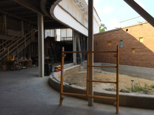 ...and the oculus in progress. You can see the existing building in the background. The outdoor space will be the new garden.