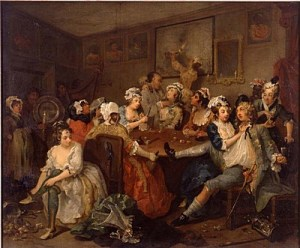 A tavern? This looks like our type of bawdy crowd. The Rake's Progress 3 by William Hogarth.
