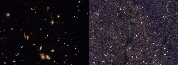 Hubble Deep Field Before and after ERV Scan sml