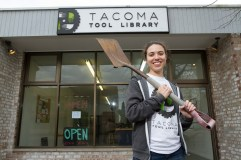 After incubating their business idea as tenants at 1120 Creative House, Rebecca Solverson (pictured here) and the entire Tool Library crew opened Tacoma Tool Library on MLK Jr. Way in 2016 to create a space for makers and builders to check out useful tools from shovels to sewing machines. Later in the year they moved location to 38th street, and are set to open January 2017. Photo by Patrick Hagerty.