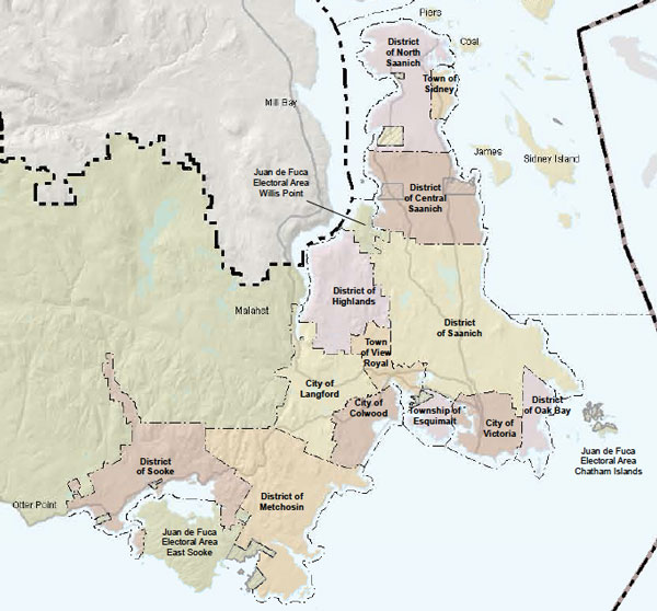 Municipal boundary map of around Victoria.