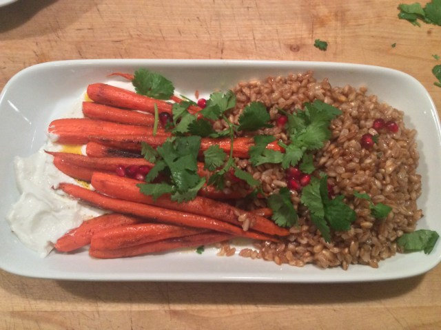 Roast carrots with farro and goat cheese