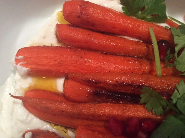 Carrots on goat cheese
