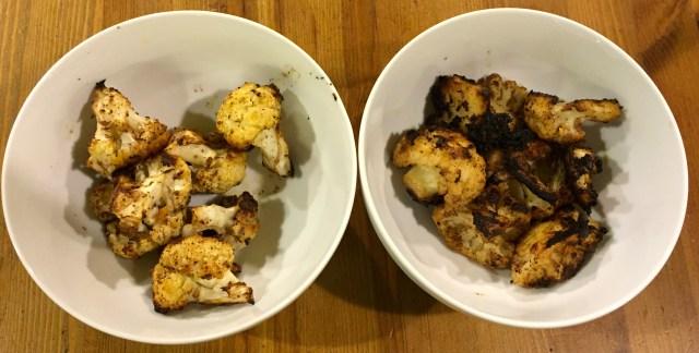 Cauliflower roasted two ways, method 1 (left) and method 2 (right)
