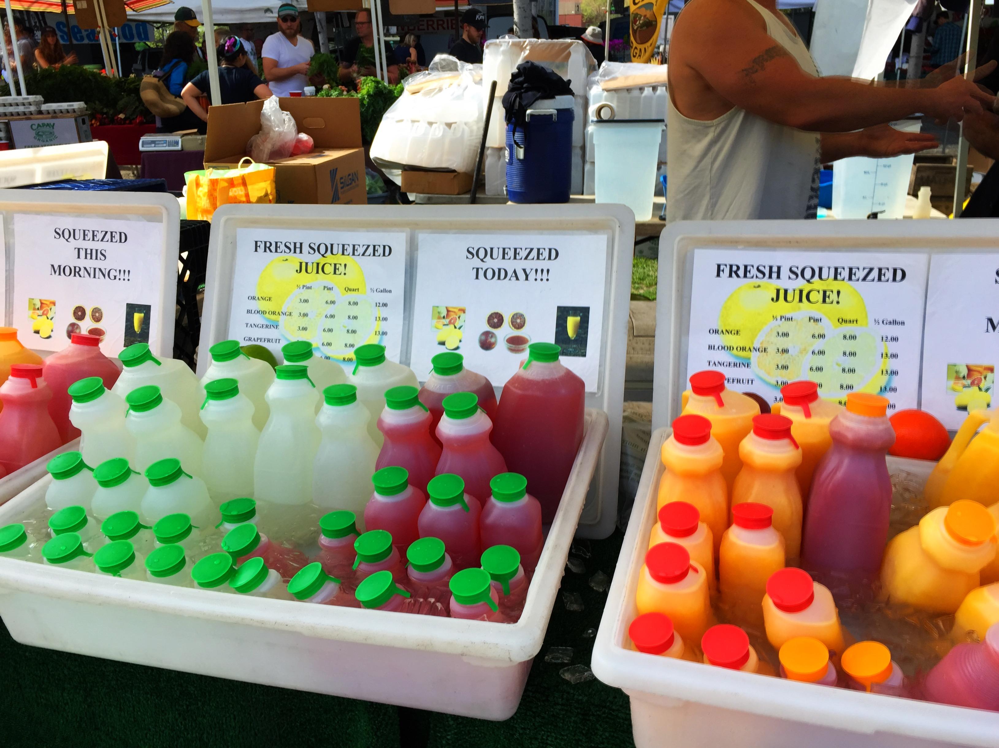 Fresh organic juice of all kinds