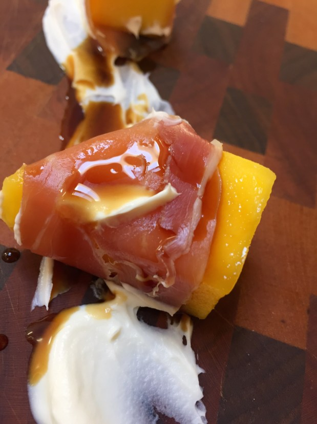April in the Kitchen – Prosciutto Wrapped Mango with Mascarpone and Aged Balsamic Vinegar