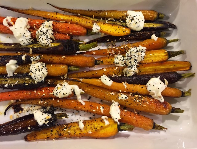 Roast Carrots with Garlic Mayonnaise and Seedy Mix