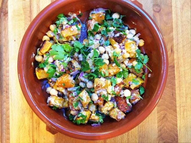 Warm Squash & Chickpea Salad with Tahini Sauce