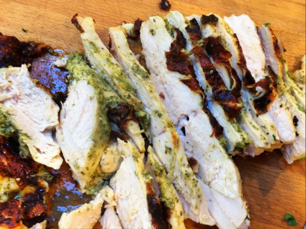 June in the Kitchen – Pesto Chicken