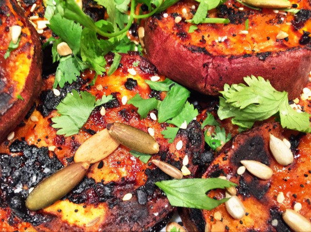 Roast Sweet Potatoes with Misa-Sesame Sauce