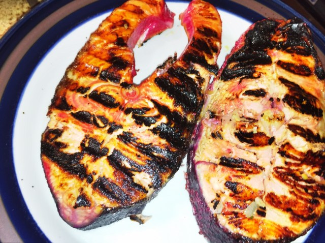 Grilled local salmon