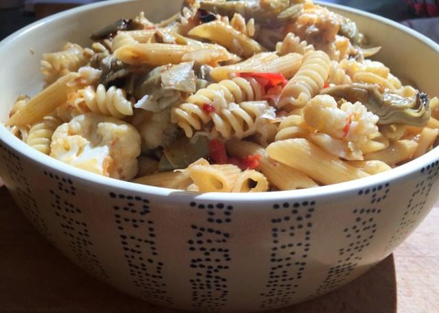 Pasta with Cauliflower. Artichoke Hearts and Parmesan