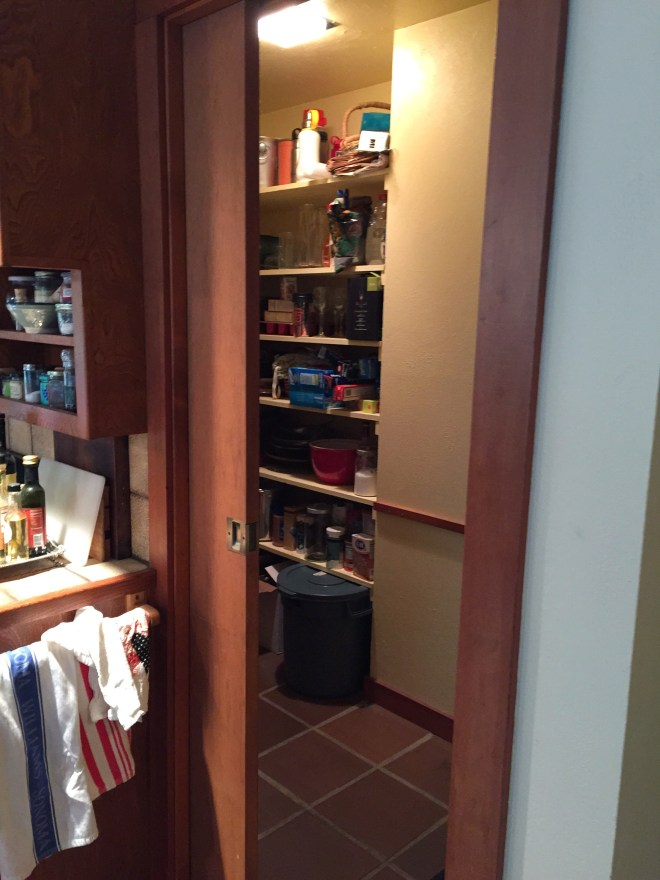 Pantry with pocket door entrance
